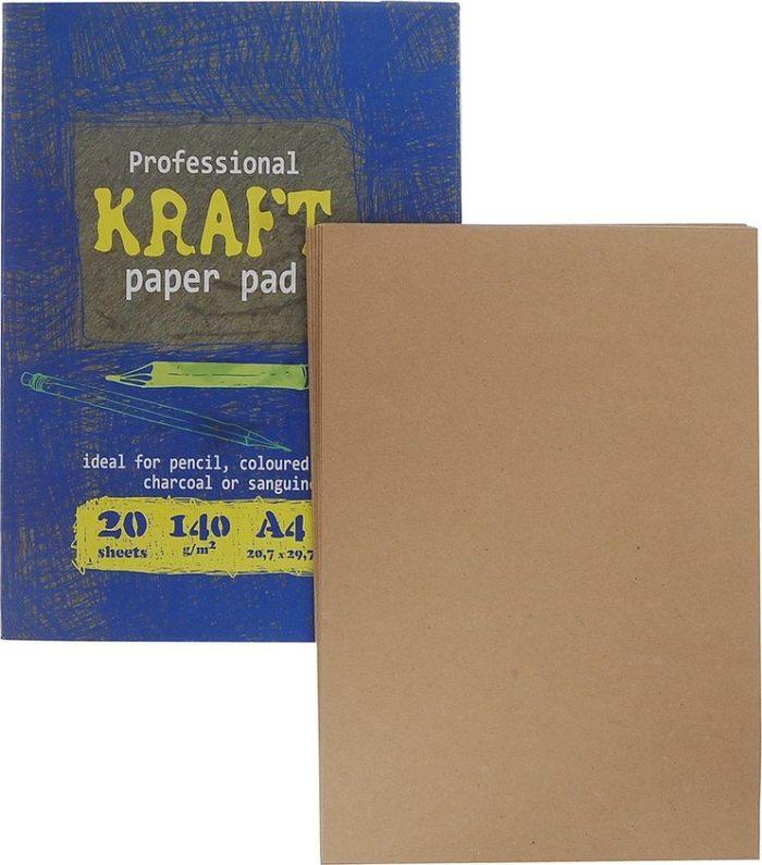 На фотографии папка для рисования из крафт-бумаги Kroyter А4 20 листов