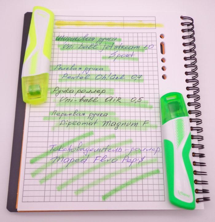 Бледные цвета маркеров Maped Fluo pep's поверх текста в тетради Oxford
