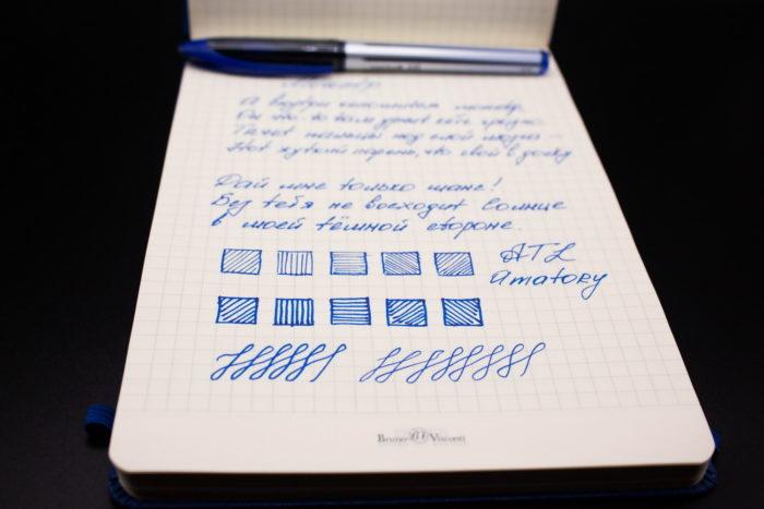 Общий вид блокнота Bruno Visconti Megapolis Velvet A5 и записей в нём
