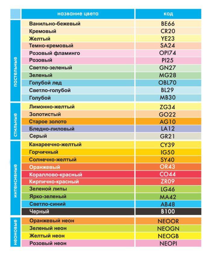 На изображении раскладка из 30 цветов цветной бумаги IQ Color. 4 группы: пастельные, стильные, интенсивные и неоновые цвета.